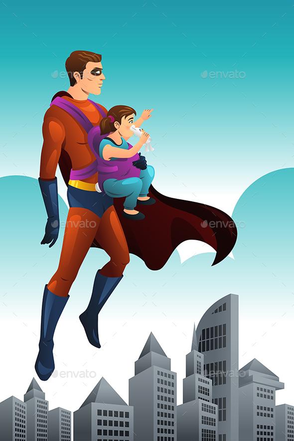 Superhero Holding a Little Girl
