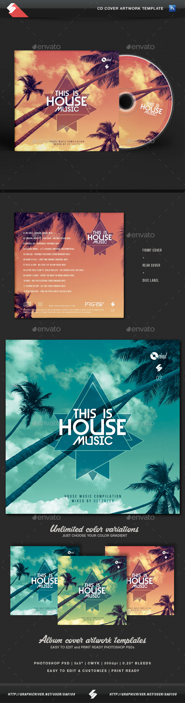 This is house music vol 2 cd cover artwork template for House music cover