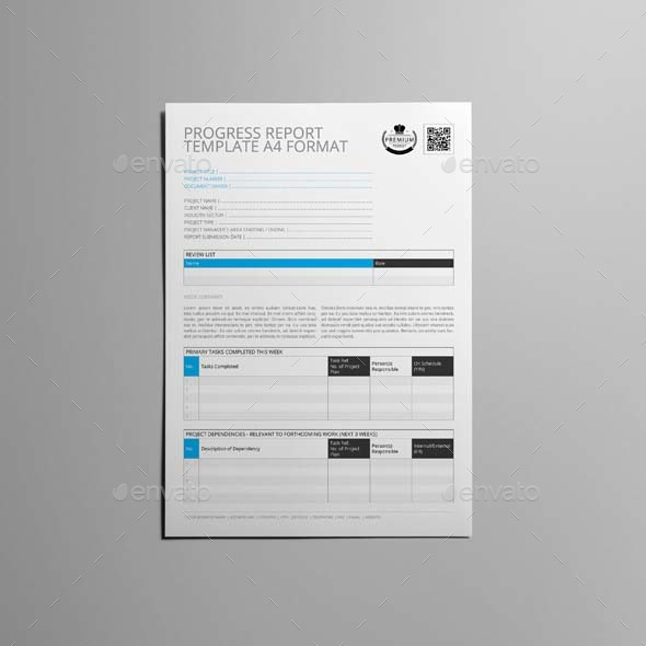 Progress Report Template A4 Format by Keboto – Format of a Progress Report