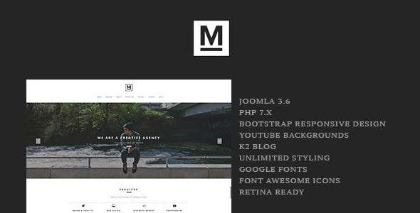preview.  large preview - Max - Creative & Minimal One Page Joomla Template