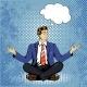 Meditating Man with Speech Bubble in Retro Pop Art
