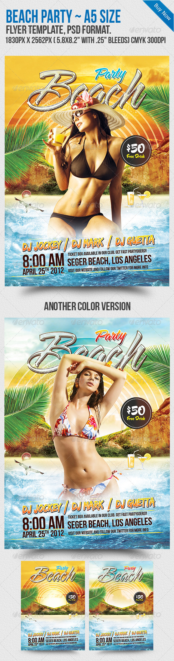 Beach Party A5 Flyer Template - Flyers Print Templates