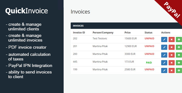 QuickInvoice - Invoice manager with PayPal integration