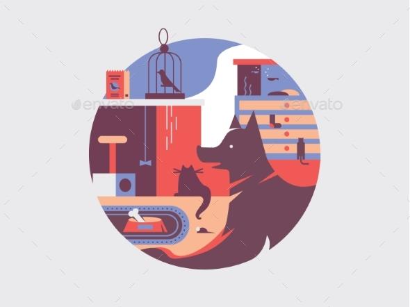 Pets Flat Illustration