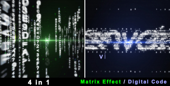 VideoHive Particle Effect 4 Digital Code and Matrix 1705300