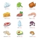 Protein Food Icons Collection For Healthy Diet