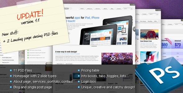 ThemeForest X-Tech Premium Psd template 168464