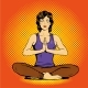 Meditating Woman With Speech Bubble In Retro Pop