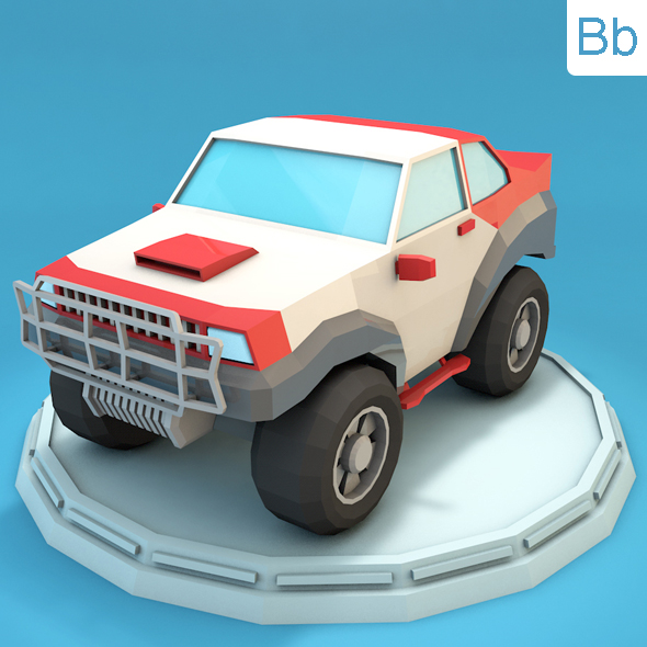 Low Poly Racing Jeep - 3DOcean Item for Sale