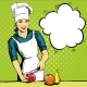 Beautiful Woman Cooking. Vector Illustration