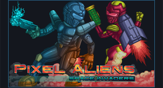 Pixel Alien Characters and Background Game Kit