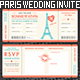 Paris Wedding Invite Tickets