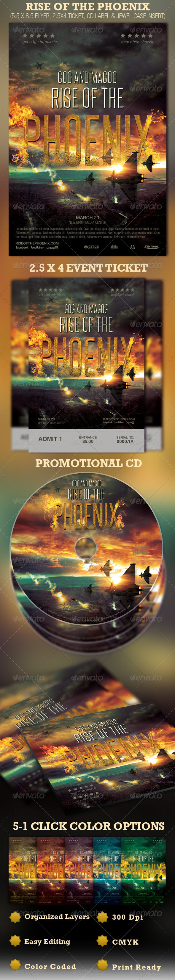 GraphicRiver Rise of the Phoenix Flyer Ticket and CD Template 1708448
