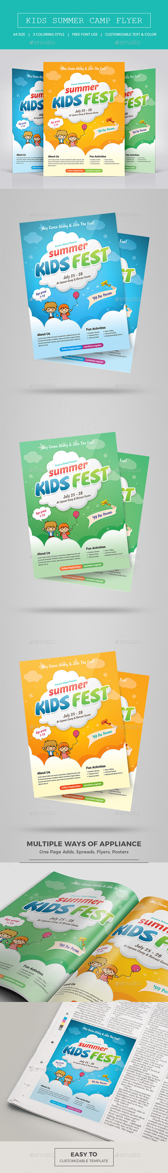 Kids Summer Camp Flyer Graphics Designs Templates - Summer camp brochure template