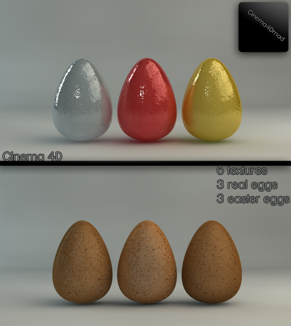 Easter and real eggs 6 different textures - 3DOcean Item for Sale