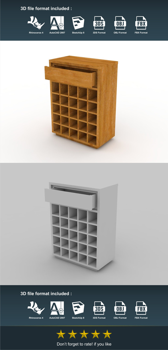 Mini Rack 1 Drawer - 3DOcean Item for Sale