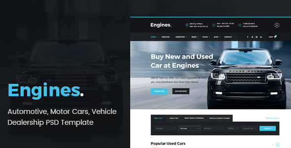 Engines - Automotive, Motor Cars, Vehicle Dealership PSD Template