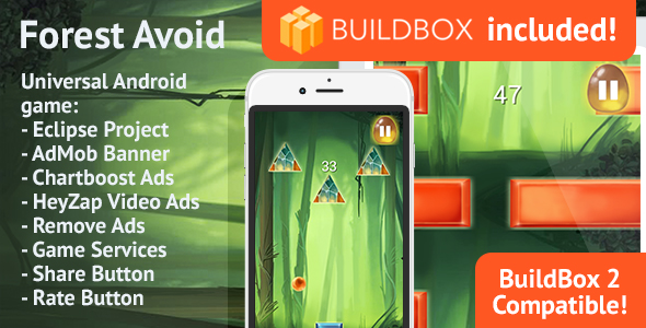 BuildBox Game Template. Forest Avoid: Android, Easy Reskin, AdMob & Chartboost, Remove Ads IAP