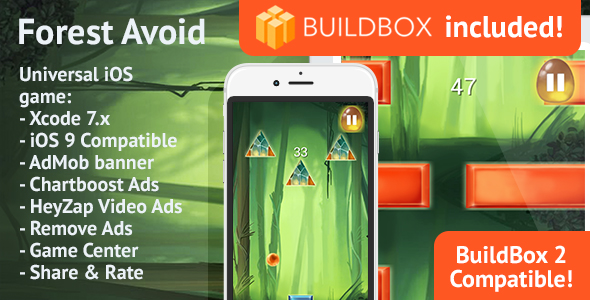 BuildBox Game Template. Forest Avoid: iOS, Easy Reskin, AdMob & Chartboost, Remove Ads IAP - CodeCanyon Item for Sale