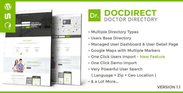 Download DocDirect - Responsive Directory WordPress Theme for Doctors and Healthcare Profession