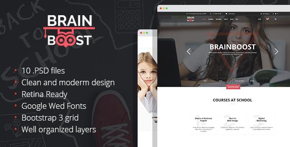 BrainBoost – Education, School & Courses PSD Template