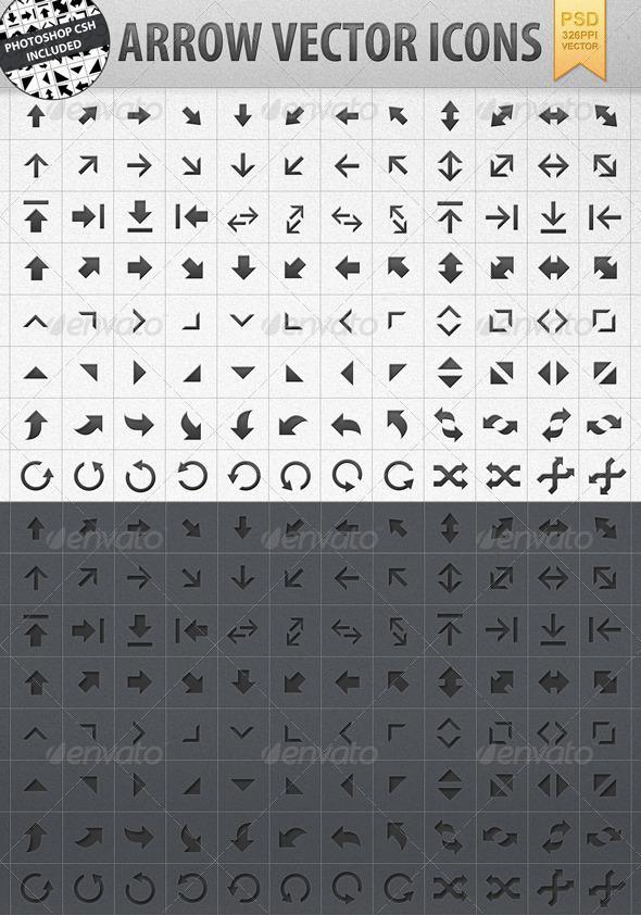 Arrow Vector Shape Icons incl. CSH - Web Icons