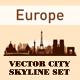 City Skyline Set Europe Silhouettes