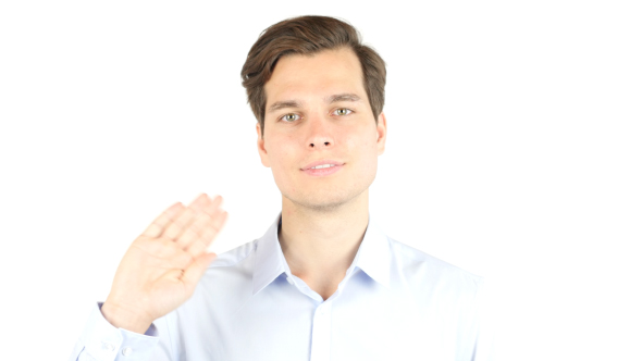 Download Businessman Waving Hand, Gesture of Hello, Welcoming nulled download