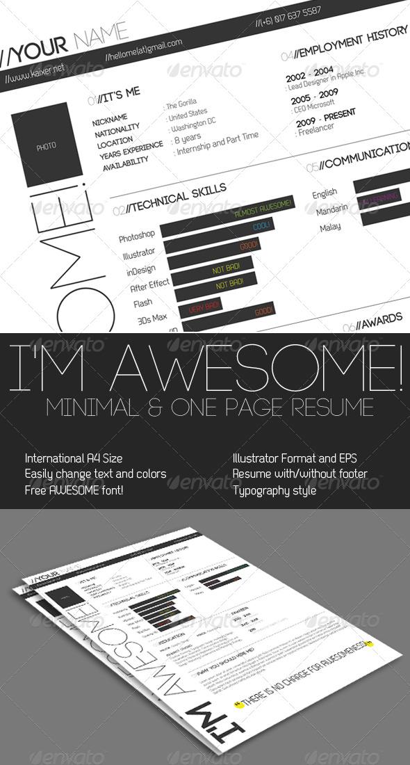 One Page Minimal Resume
