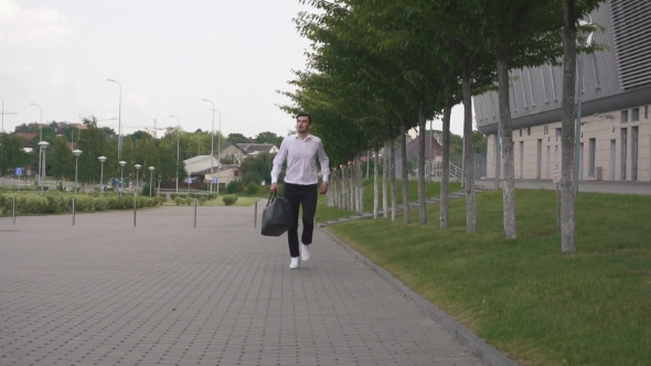 Download Front View Of Handsome Elegant Businessman In White Shirt Running With Big Suitcase In . Urban City nulled download