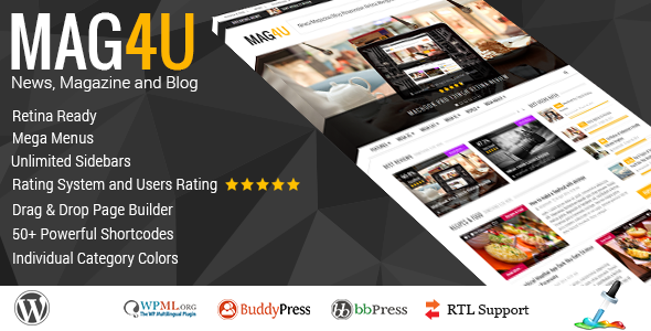 Mag4u - Responsive WordPress News, Magazine, Blog