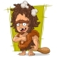 Cartoon Prehistoric Man With Bone