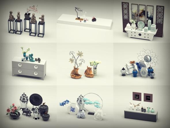 3d Decorative Objects 9 Units Set - 1 - 3DOcean Item for Sale