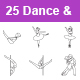 Dance & Fitness Outlines Vector Icons