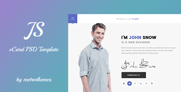 JS - Creative vCard & Resume Portfolio PSD Template
