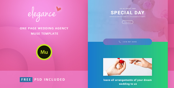 Elegance - One Page Wedding Agency Muse Template