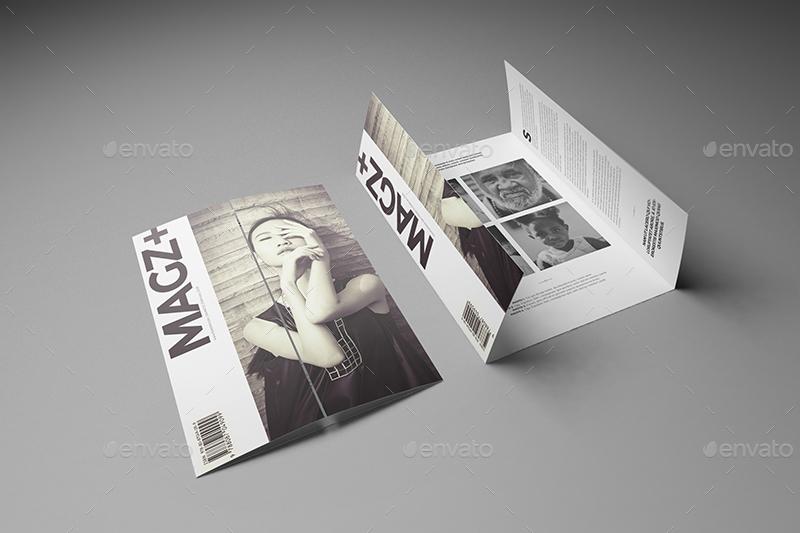 A4 A5 Single Gate Fold Brochure Mockups by Wutip – Gate Fold Brochure Mockup