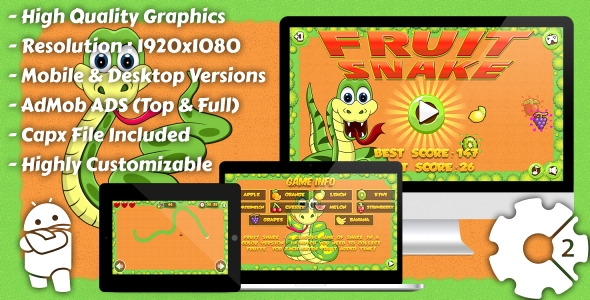 Download Fruit Snake - HTML5 Game, Mobile Vesion+AdMob!!! (Construct-2 CAPX) nulled download