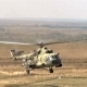 Wind Shot Military Helicopter Landing On Battlefield
