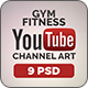 Gym and Fitness Youtube Covers - 3 Designs - 3 Colors