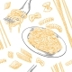 Seamless Pattern of Pasta Set