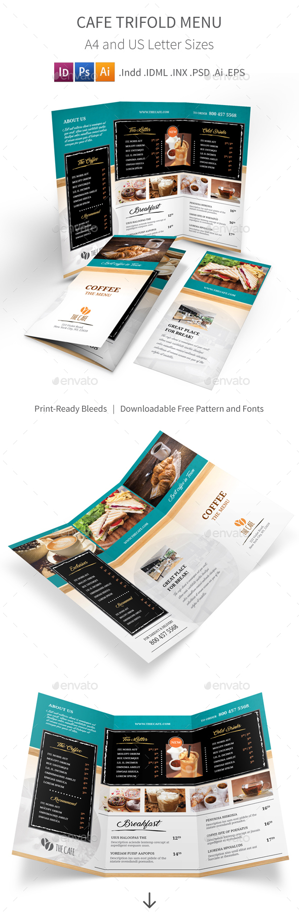 Cafe Trifold Menu 2