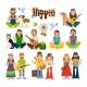 Hippie People Vector Icon Set