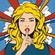 Woman Says Shh! Retro Vintage Keep Silent