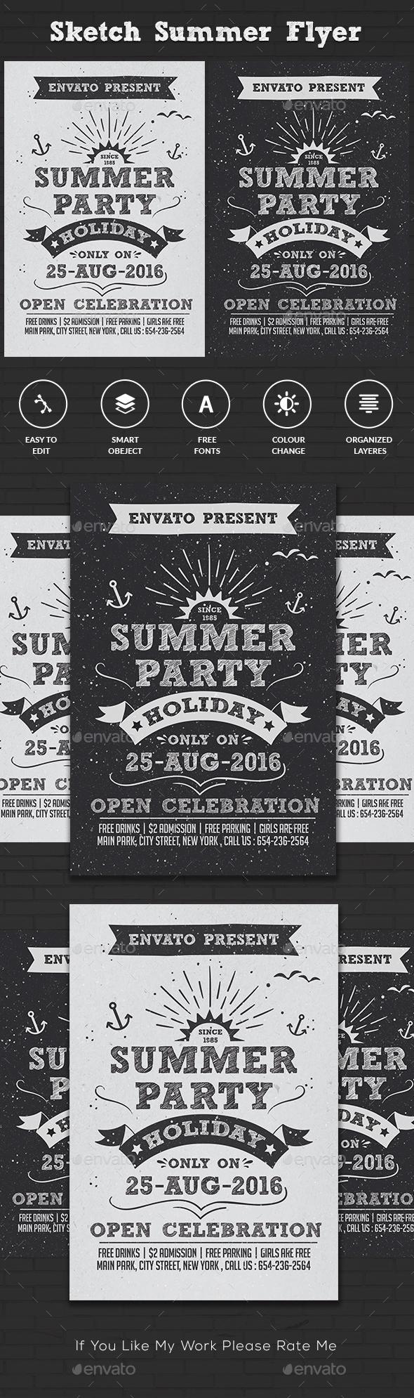 Sketch Vintage Summer Flyer
