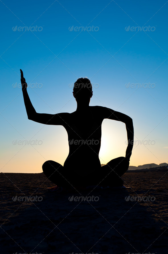 woman in yoga position - Stock Photo - Images