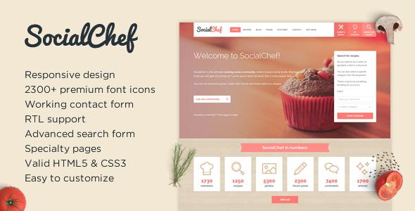 SocialChef - Social Recipe HTML Template