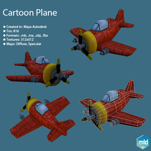 Cartoon Red Plane - 3DOcean Item for Sale