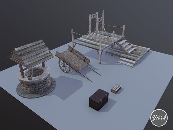 Medieval Props Set - 3DOcean Item for Sale