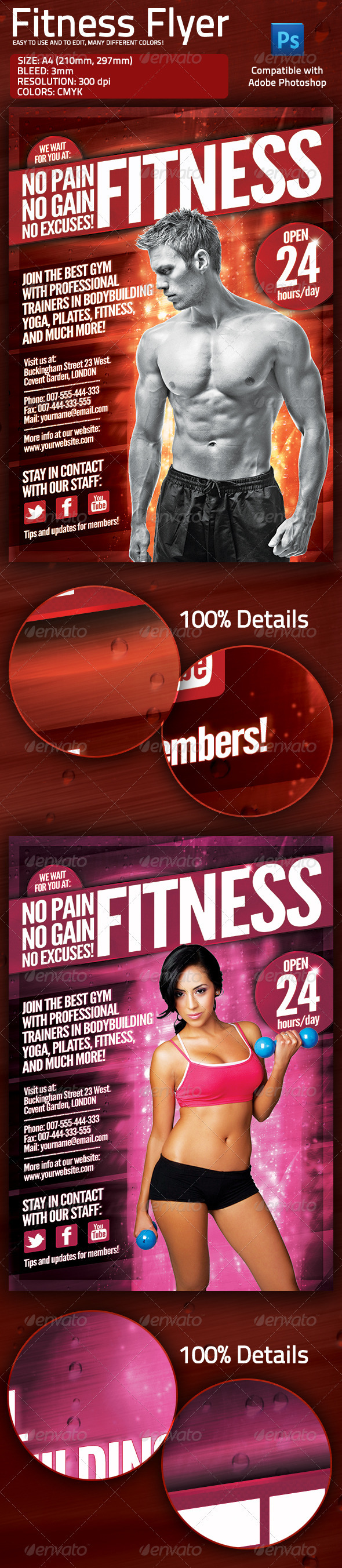 Fitness Gym Flyer with Multiple Color Options